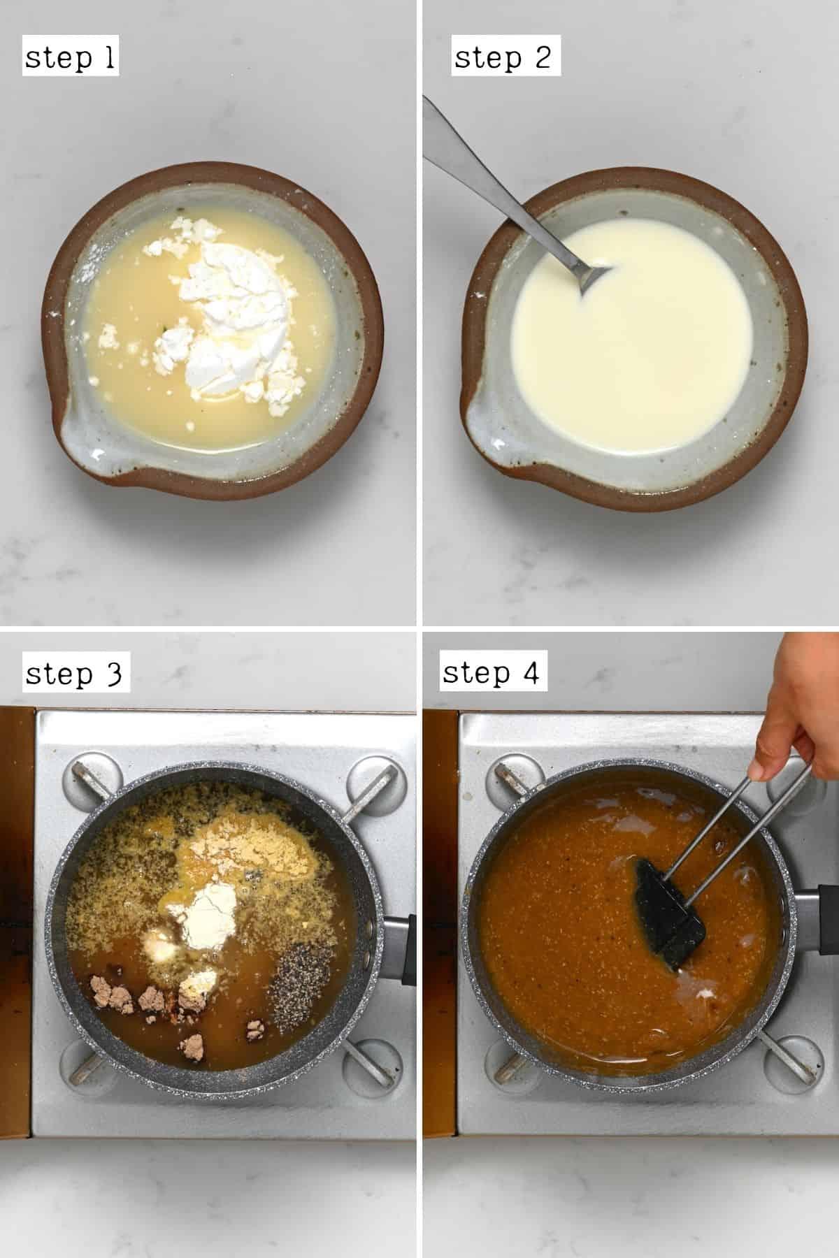 Steps for preparing vegan gravy