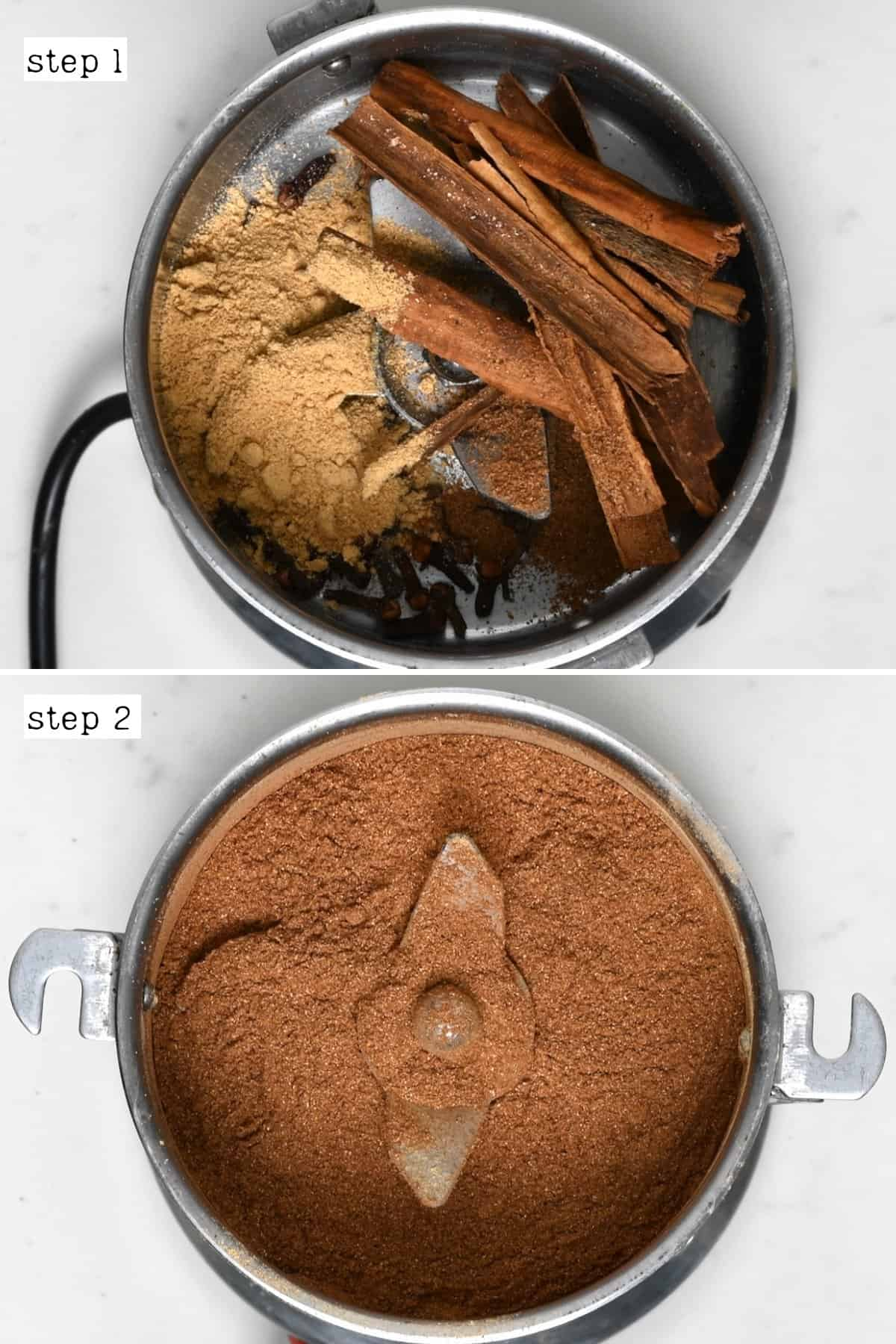 Steps for making pumpkin spice mix